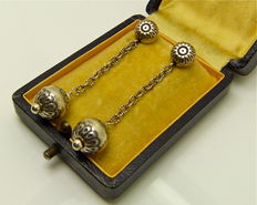 "Signed by the artist - Original 1930s  ""Niello silver"" long drop earrings"