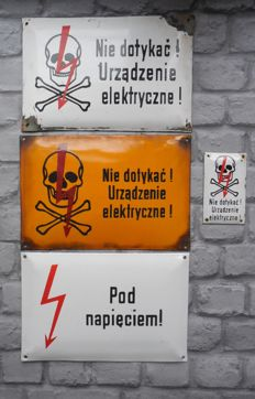 4 x Polish Curved Enamel electricity warning signs - ca 60's