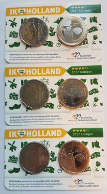 Netherlands - Holland coincards 2017 (3 with consecutive numbers)