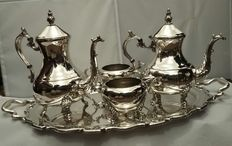 F.B Rogers, 1883, Silver plated Teaset, Made in USA & James Deakin & Sons, 1871, Silver plated Tray, Made in England