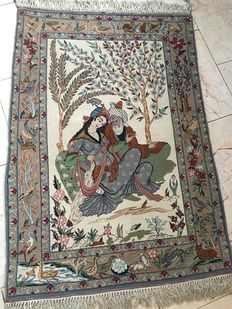 Handmade Persian rug - Isfahan - pictural - 77 x 111 cm - mint condition