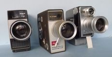 3 Japanese film cameras with zoom for the double 8 (split 16) film system from  1950-1960