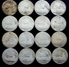 Spain – Provisional government – Lot of 16 one-peseta coins, years 1869 and 1870