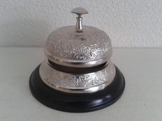 Hotel bell - counter bell - Silver plated on wood, large model