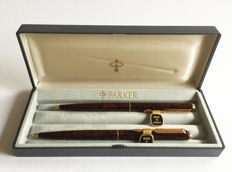 Parker 95 pen set ~ Ballpoint Pen and Pencil in Laque Thuya (wood grain)