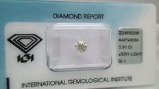 0.51 ct – Very Light Brown Round Brilliant Cut, Clarity SI1 – Cut Grade Very Good - NO RESERVE PRICE