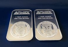 U.S.A - 2 items: silver bars, 2 x 1 oz.999, APMEX
