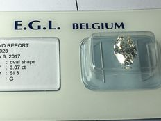 Diamond in oval cut, 3.07 ct. G SI 3 with EGL certificate