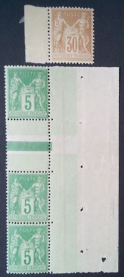 France 1881-1900 - Selection of 2 stamps, sage type including 2 5 c. green-yellow, signed Roumet - Yvert No. 80 and 106a-106