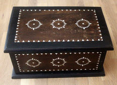 hard wooden box inlaid with mother-of-Pearl graphics-2nd half of 20th century