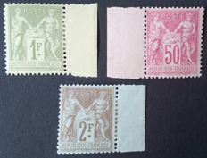 France 1882-1900 – Selection of 3 stamps, sage type – Yvert No. 82, 104 and 105