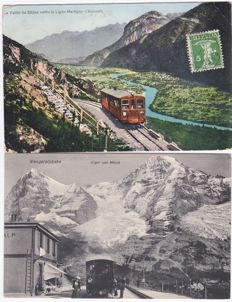 Lot of 26 x Switzerland postcards 1900-1945 Trains and transport