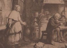 Anonymous - inside a house and people - probably a 18th century print