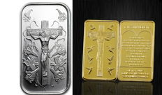 USA - 1 ounce 999 silver bar - Jesus on the Cross + 28 grams medal bar with 24 carat gold-plating - with space for engraving on the rear side