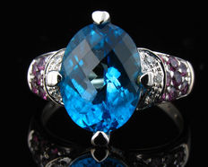 Axclusive AAA  Designer Signed Natural 6ctw Blue & Pink Topaz & Diamond 14K White Gold Ring-No Reserve!!!-