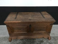 Oak blanket chest with wrought iron fittings - the Netherlands - ca. 1840