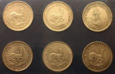 South Africa - 5 Shilling 1948, 1949, 1952, 1953, 1957, 1958, 6 coins - silver