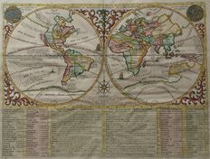World; H.A. Chatelain - MAP MONDE OU DESCRIPTION GENERALE DU GLOBE TERRESTRE - 1713