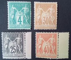 France 1876-1886 – Selection of 4 stamps, sage type – Yvert No. 63, 80, 94 and 97