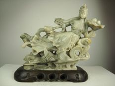 Soapstone carving He Xian Wu - China - mid 20th century