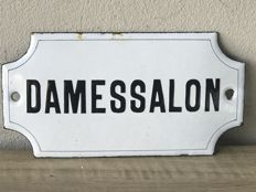 Enamel sign for a ladies salon 'damessalon'