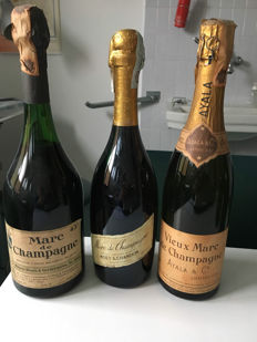 3 Marc de Champagne - 2 Older bottles from the 1970s & 1 recent bottling