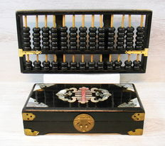 Chinese Abacus and jewelry box with jade inlay