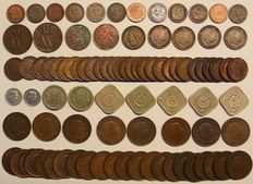 The Netherlands – Collection of 89 coins, 1/2 through 5 cent 1837/1980 – including 2 x silver