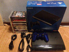 Sony playstation 3 500gb with box, cables, controller and 15 top games.
