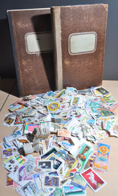 World - Batch in 2 old folders and a box with thousands of loose stamps