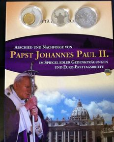 Italy - 3 silver coins, 6 brass/copper/nickel commemorative coins and 6 EURO first-day letters, Pope Johannes Paul II.