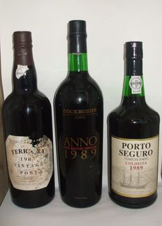 1985 Vintage Port - Ferreira & 1989 Late Bottled Vintage Port - Cockburns & 1989 Colheita Port - Manoel D. Poças Junior - 3 Bottles
