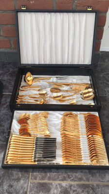 Cutlery set for 12 place settings - 78 pieces SBS Solingen - 24 carat hard gold plated