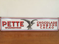 "Pette Wormerveer ""Chocolade BonBon Cacao"" Enalmaled Advertising Sign"