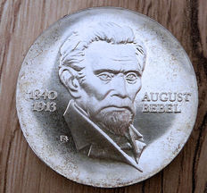 GDR - 20 Mark 1973 60. Anniversary of the death of August Bebel - Silver