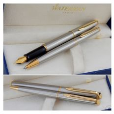 Waterman Hemisphere Brushed Steel GT Ballpoint + Fountain Pen