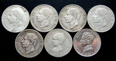 Spain – Alfonso XII, Alfonso XII – Lot of 7 coins of 2 pesetas, silver, 1879-1905. All different.