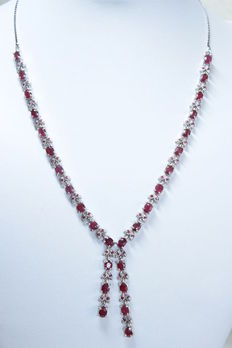Silver necklace with rubies