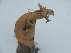 Dragon, unpainted wood. -1970s