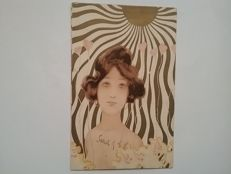 An artist postcard Raphael Kirchner postally circulated 1908 years motif young woman flower beauty.