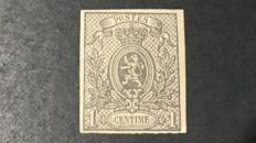 Belgium 1866-1 cent lion imperforated - OPB 22