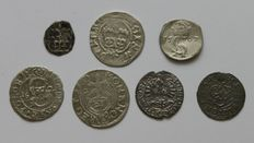 Lituania, Poland and Sweden - Lot assorted coins 15th -17th century (7 different) - silver