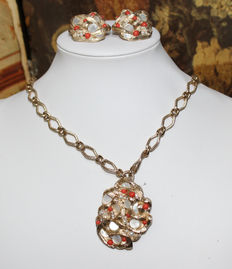 Necklace with pendant/brooch and earrings by Sarah Coventry – 1960s-70s