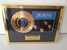 """The Beatles  Gold Plated Original 7"""" Record  """"Can't Buy Me Love""""  Displayed In Mint Condition !!"""