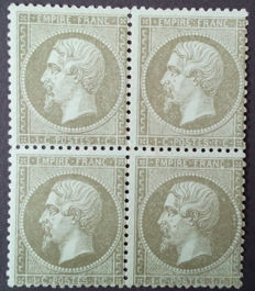 France 1862 - Napoleon III perforated, 1c. olive, block of 4, Calves signed - Yvert no. 19