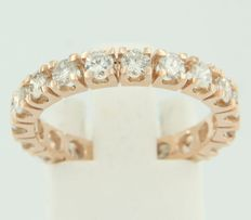 14k rose gold whole eternity ring set with 19 brilliant cut diamonds