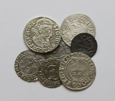 Lithuania and Poland - Lot assorted coins 16th -17th century (7 different) - silver