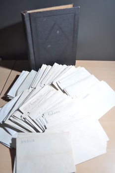 World - Batch in an old clamp folder and dozens of envelopes with stamps