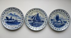 Porceleyne Fles – three 1st world war wall dishes from Leon Senf
