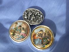 Three of mint/pill boxes: Pedro Durán - Late 20th century. (1box) Spain. 1950s (2 boxes).
